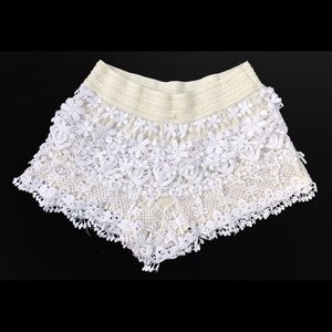 Lace Crochet L Shorts Stretch Elastic Waist